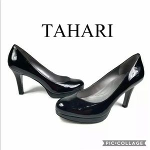 Tahari Lonnie Pumps 9.5 M Black Patent High Heels